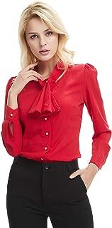 Women's Long Sleeve Shirt Tie Bow Neck Button End Slim Fit Chiffon Blouse