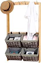 GuoWei Floating Wall-mounted Shelf Storage Display Wood Hook Up Double Cloth Basket Simple, 2 Layers (Color : D, Size : 64...