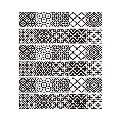 Paquete de 6 pegatinas de Njuyd con patrón creativo para suelo de baldosas, para decoración de baño, cocina, resistente al agua, adhesivo para papel pintado
