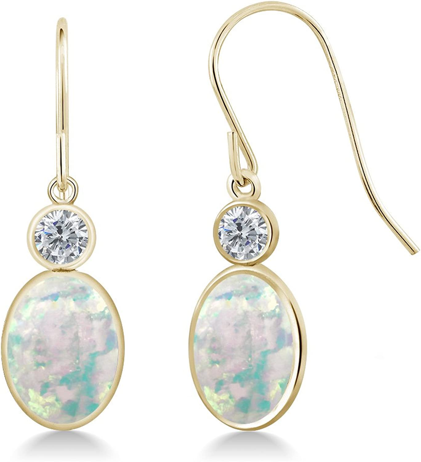 2.30 Ct Oval Cabochon White Simulated Opal G H Diamond 14K Yellow gold Earrings