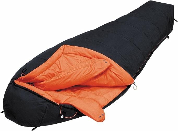 Alexika Delta fermeture éclaire à droite Extrême sac de couchage mixte adulte Noir Intérieurs Orange 85 X 220 X 55 cm