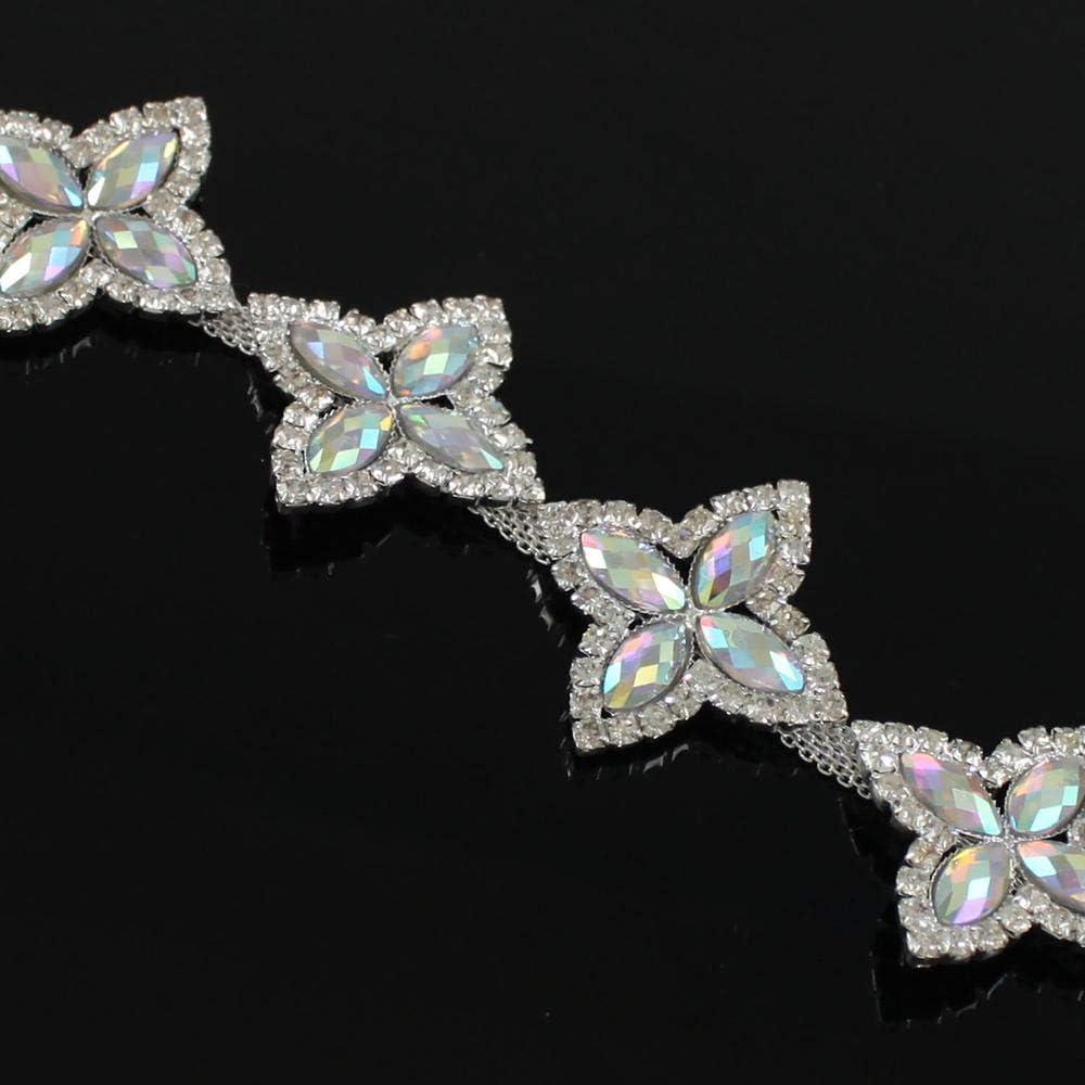Fashionable Xuccus 10Yd AB Crystals Chain Luxury goods Trim Rhinestone Clear Diamond