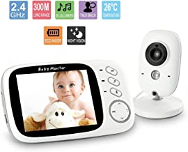 Acecharming Wireless Video Baby Monitor with Digital Camera, 3.2 inch Screen Night Vision Temperature Monitoring with 2 Way Talk, Lullabies, Long Range for Security