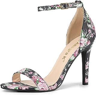 Allegra K Women's Floral Ankle Strap Stiletto Heel Sandals