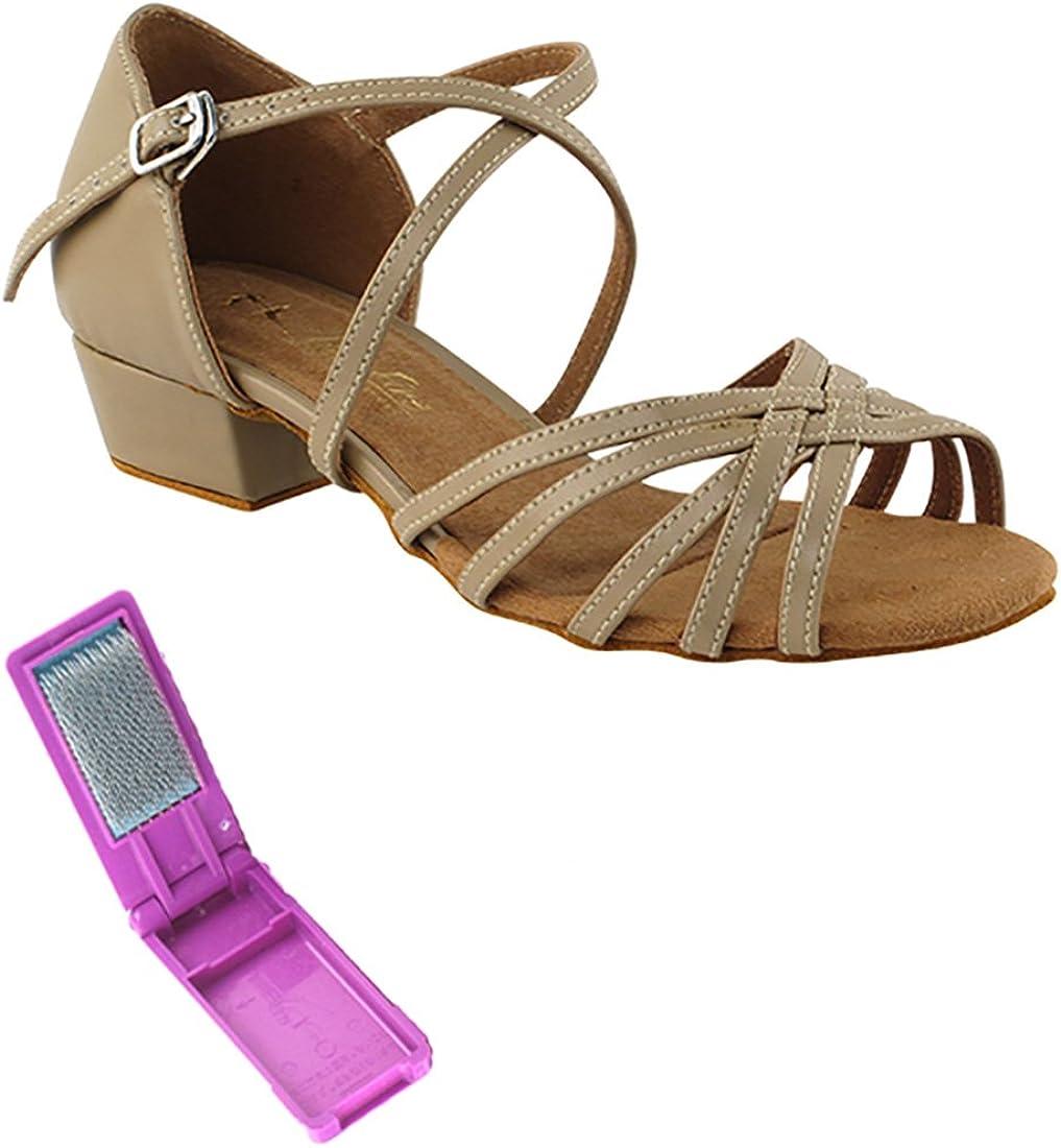 Very Fine Ballroom Salsa Practice Dance Shoes for Women 1670FT 1-Inch Heel + Foldable Brush Bundle
