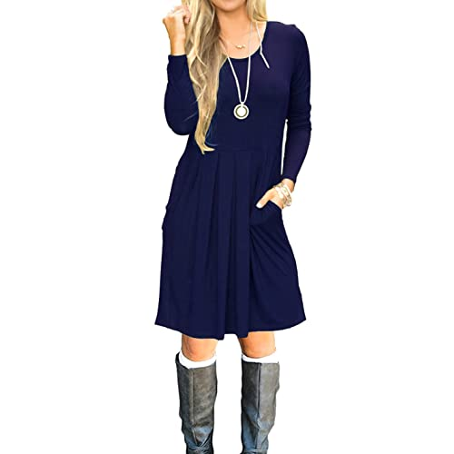 e7a0a8dc47b AUSELILY Women s Long Sleeve Pleated Loose Swing Casual Dress with Pockets  Knee Length
