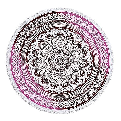 Diámetro de Aproximadamente 150 cm Color Seis Colores patrón Abstracto geométrico Engrosamiento y duraderas y fáciles de Limpiar Medias de Playa Redondas-C8 para Senderismo Yoga Gimnasio Dep