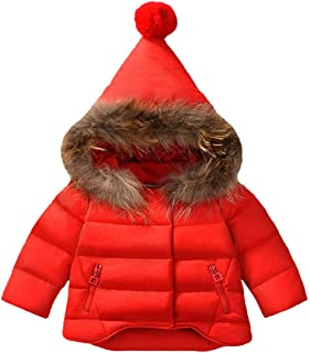Xuvozta Boys Girls Hooded Cotton Snowsuit Thicken Winter Coat Fur Collar Windproof Jacket