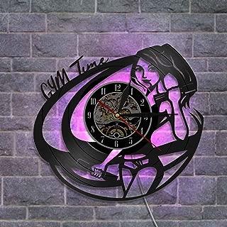 レトロなビニールレコード壁掛け時計 クリエイティブ 常夜灯 リモコン付き - ジムの時間