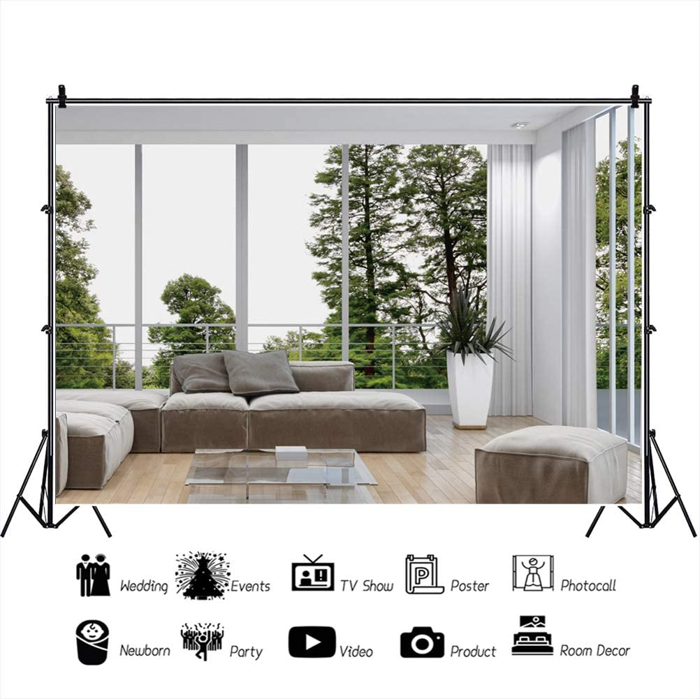 OERJU 15x10ft Interior Design Backdrop Interior Room Decoration Photography Background Classic Sofa Green Forest Wood Floor Home House Decoration Kids Adults Portrait Photo Shoot Props Wallpaper