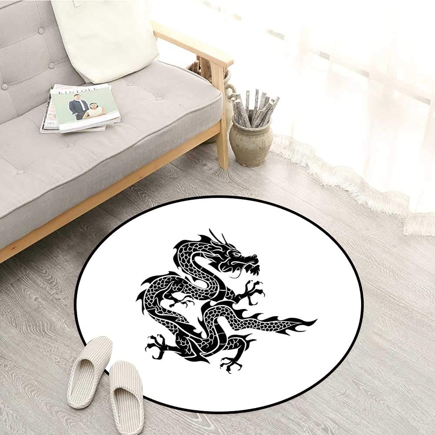 Japanese Dragon Non-Slip Rugs Cultural Zodiac Icon Monochrome Graphic Style Eastern Dragon Claws Scales Sofa Coffee Table Mat 3'11  Black White