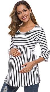 Ecavus Womens Casual Maternity Tops Striped Peplum 3/4...