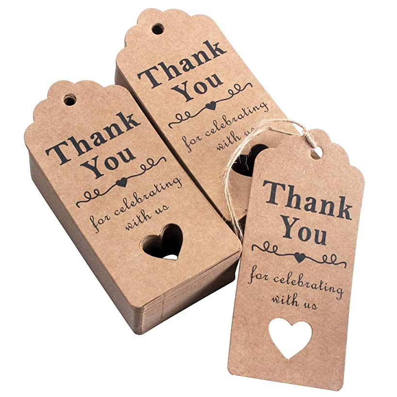 HAZOULEN Thank You Tags, 100 Pcs Kraft Paper Tags for Wedding Favors, Bridal Shower Party Gifts with Natural Jute Twine