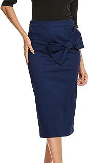 Zeagoo Women Pencil Bow Skirt Calf Length Solid High Waist Zipper Skirt