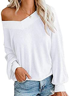 Womens V Neck Long Sleeve Waffle Knit Tops Pullover Sweater Tops