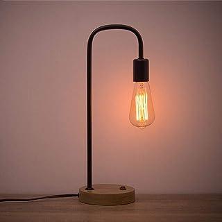 HAITRAL Lámpara de escritorio industrial, marco de metal, lámpara de escritorio, lámpara vintage Edison para dormitorio, oficina, salón, dormitorio, color negro (sin bombilla), Eisenlose Haube