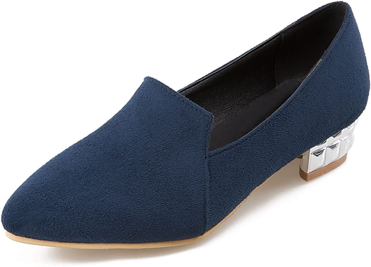 DoraTasia Suede Shallow Pointed Toe Slip on Block Thick Heel Women's Pumps