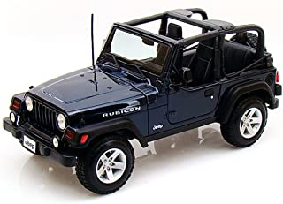 Maisto Jeep Wrangler Rubicon, Blue 31663 - 1/18 Scale Diecast Model Toy Car
