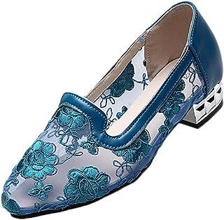 MaNMaNing Dansschoenen voor dames, mesh, elegante dansschoenen met bloemenprint, slip-on, dans, schoenen, pumps, Latijn, b...