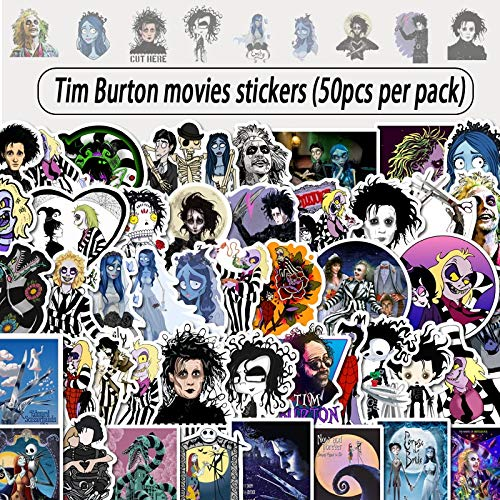 50 Stück Tim Burton Regie Filmreihe Aufkleber Graffiti Wasserdicht Aufkleber Laptop Motorrad Gepäck Snowboard Auto Aufkleber