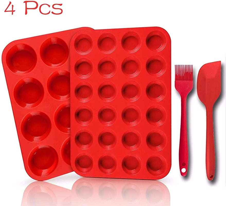 Changyun Silicone Muffin Pan Baking Trays 4 Pack 12 Cup 24 Cup Cupcake Pans Silicone Baking Molds Spatulas And Brush Non Stick BPA Free Red