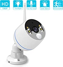 YESKAMO Wireless Security Camera Outdoor 1080p Floodlight IP Camera Audio Camera with Siren Alarm,Two Way Talk, Color Night Vision, 32G Video Recording, Motion Detection