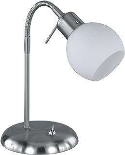 TRIO, Lampe de table, Freddy incl. 1 x LED,E14,4,0 Watt,3000K,320 Lm. Verre opale, Blanc, Corps: metal, Nickel mat L:15,0c...