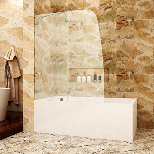 SUNNY SHOWER TD2 Bathtub Door Frameless Hinged Tub Door 5/16' Glass Panel, Chrome Finish, 48' W x 58' H, Support Bar Included