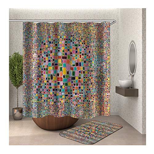MaxAst Duschvorleger Set Bunt buntes Quadrat Duschvorhang Wasserdicht Anti-Schimmel Badezimmerteppich Polyester Bad Vorhang 165x200CM