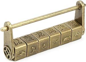 Chinese karakters cijferslot, vintage Chinese woorden wachtwoord slot voor kast sieraden doos geschenkdoos decor, 8 x 1,5 ...