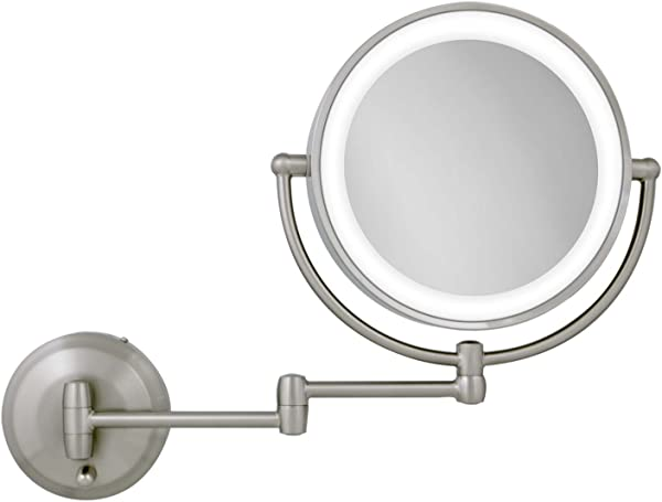 Zadro 10X 1X Magnification Next Generation LED Lighted Wall Mount Mirror Satin Nickel