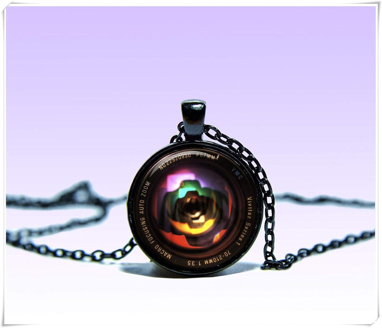 Dandelion Charm Vintage Camera Lens Art Pendant Foto Necklace, Black Jewelery, Charm Pendant