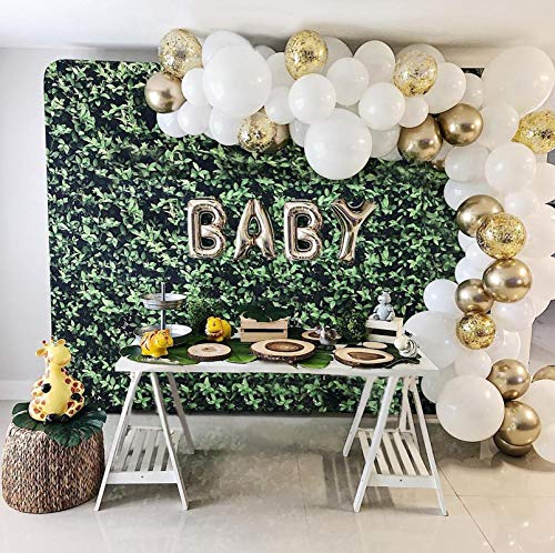 Balloon Garland Arch Kit for Party 16Ft Long 129Pcs White Gold and Confetti Latex Balloons for Baby Shower Wedding Birthday Graduation Anniversary Bachelorette Party Background Decorations (White-Gold)