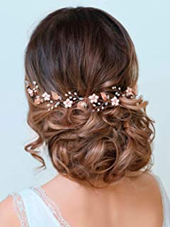 Barogirl Wedding Headpiece Rose Gold Bride Flower Hair Vine Pearl Bridal Crystal Headband for Women (Rose Gold)