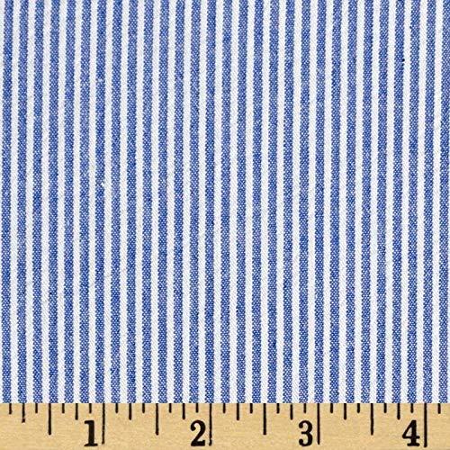 Cotton Seersucker Stripe Royal/White, Fabric by the Yard