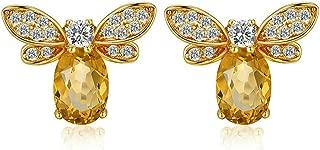 14K Yellow Gold Plated Sterling Silver Cute Bee Earrings Studs for Women Teen Girls Natural Citrine Gemstone Honeybee Animal Earrings Jewelry