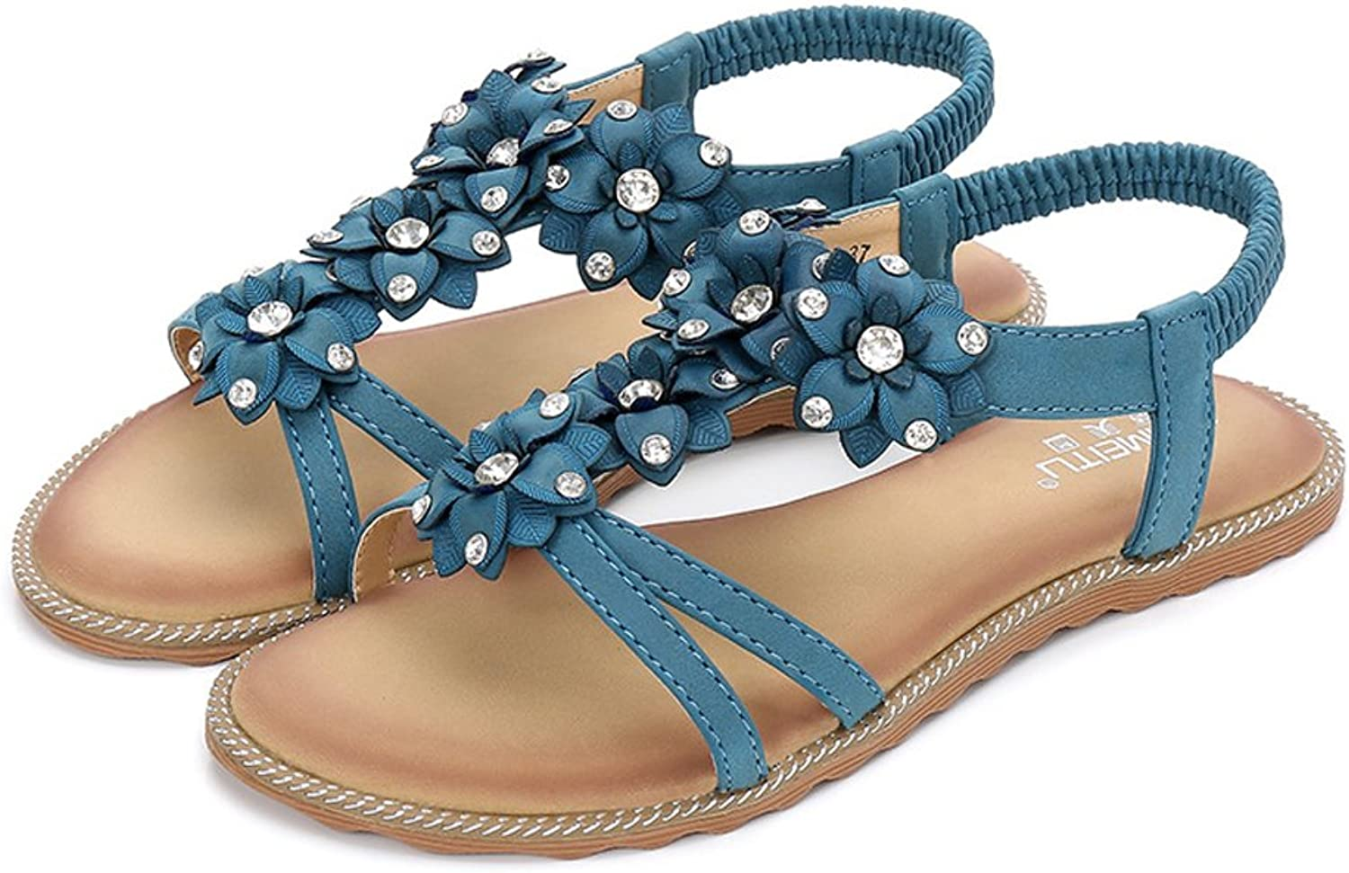 Tuoup Women's Flat Leather Jeweled Summer Sandles Sandals