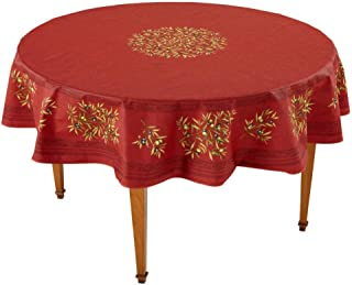 Occitan Imports Clos des Oliviers Rouge Round French Tablecloth, Uncoated Cotton, 71 in diameter