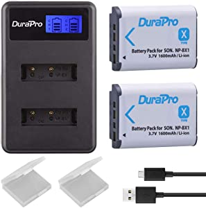 DuraPro 2Packs NP-BX1 BX1 NPBX1 Battery LCD Dual USB Charger for Sony ...