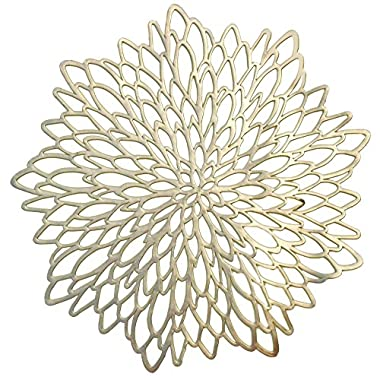 OCCASIONS  10 PACK Pressed Vinyl Metallic Placemats/Charger / Wedding Accent Centerpiece (10 pcs, Round Gold Leaf)