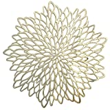 Occasions  10 Pieces Pack Pressed Vinyl Metallic Placemats / Wedding Accent Centerpiece Placemat (Round Gold Leaf)