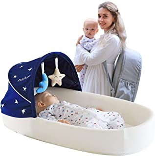 Baby Lounger, Portable Travel Bassinet,Breathable, Newborn Infant Bed. with 2 Toys,1 Mosquito Net and a Storage Bag. Suitable for Babies from 0 to 10 Months. (Grey)