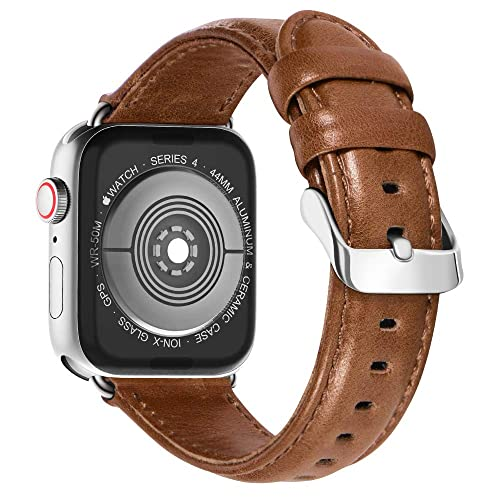 5fdcfdb7257 KADES Compatible for Apple Watch Band Genuine Leather Replacement Strap  with Retro Crazy Horse Texture Compatible
