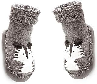 TrifyCore, Aislado Calcetines de bebé unisex anti del piso resbaladizo Calcetines con el patrón de dibujos animados de animales gruesos calcetines de algodón para niño del bebé gris 1 Par
