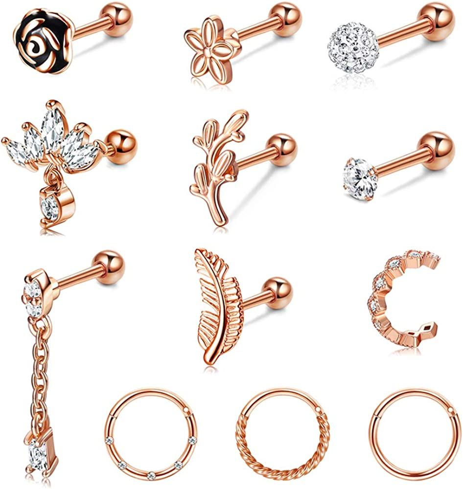 IRONBOX 12Pcs Cartilage Earrings for Women Tragus Earring Stainless Steel Forwards Helix Daith Conch Piercing Jewelry Cartilage Earring Hoop Jewelry Set