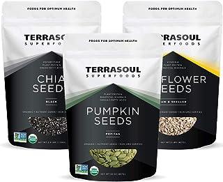 Terrasoul Superfoods Organic Pumpkin Seeds 2 Lbs + Organic Sunflower Seeds 2 Lbs + Organic Black Chia Seeds 2.5 Lbs Bundle