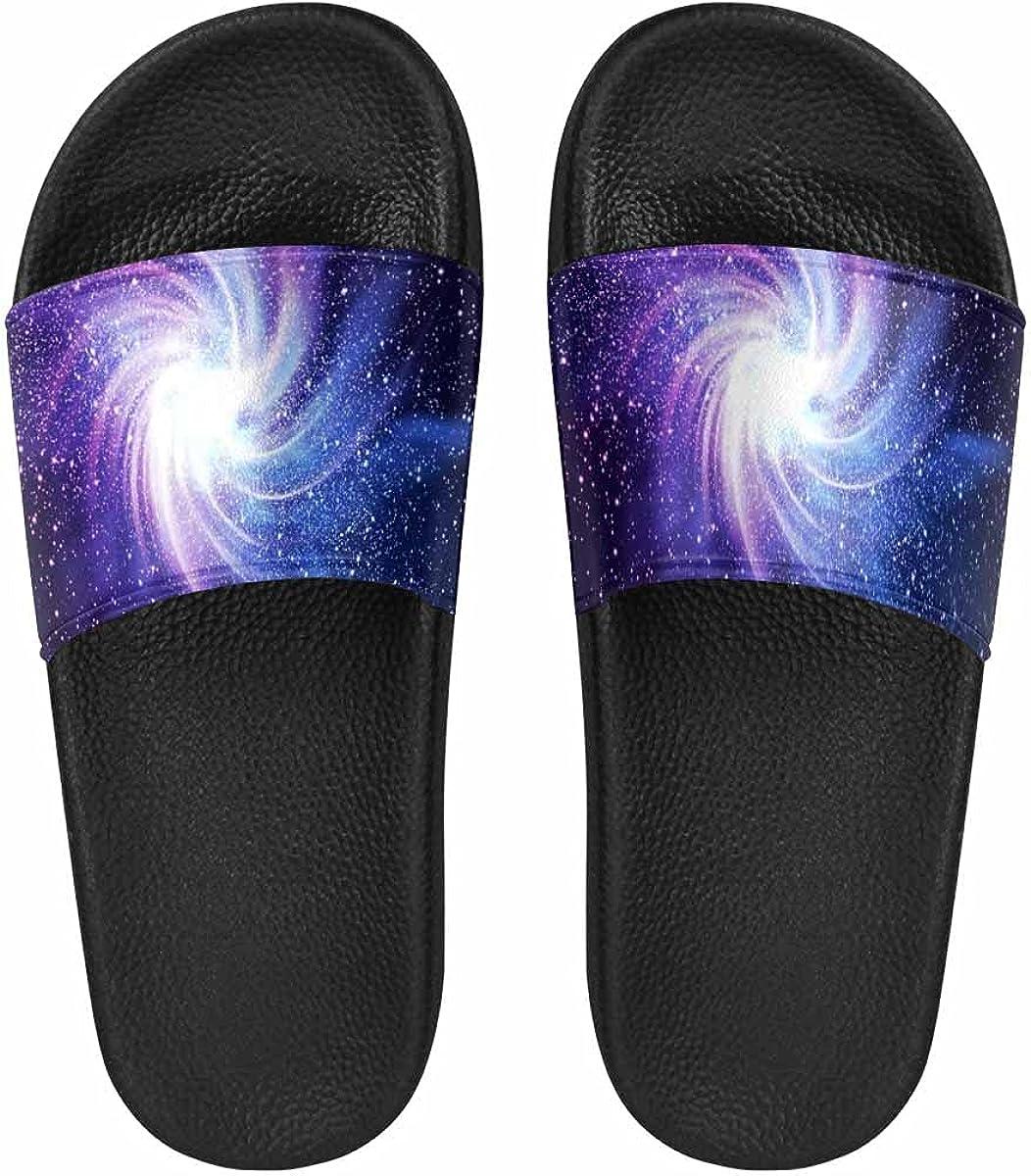 InterestPrint Funny Smiling Star and Sleeping Moon Women's Slide Sandal Summer Beach Travel Sandal Indoor Shoes