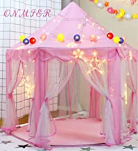 ONMIER Pink Princess Castle Kids Play Tent, Children Playhouse, Great Birthday Gifts For 1-10 Years Old Kids Toys, Indoor And Outdoor Use, Pink ( Colorful Ball and LED lights Not Include)