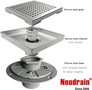Neodrain 6-Inch Square Shower Drain with Removable Quadrato Pattern Grate,PVC Shower Drain Base and Rubber Gasket for Bathroom Floor Drain, Brushed 304 Stainless Steel, Includes Hair Strainer