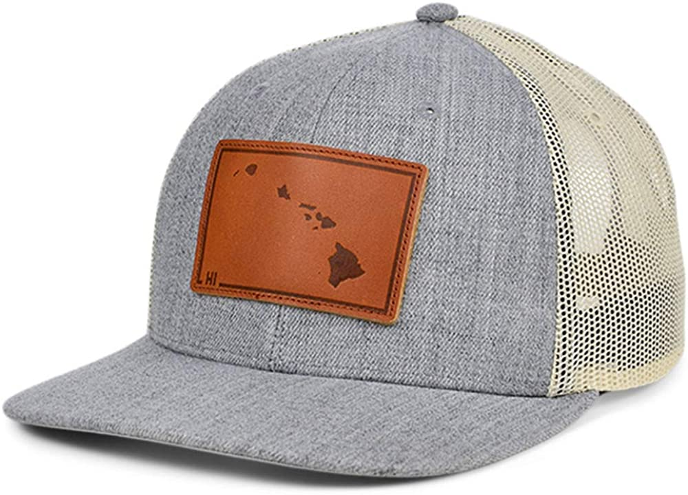 Local Crowns Hawaii Heather Leather State Patch Curved Trucker Adjustable Heather-Gray, White, and Brown Snapback Cap
